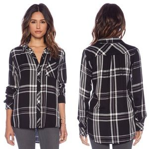 Rails Hunter Black & White Plaid Shirt Sz Med EUC